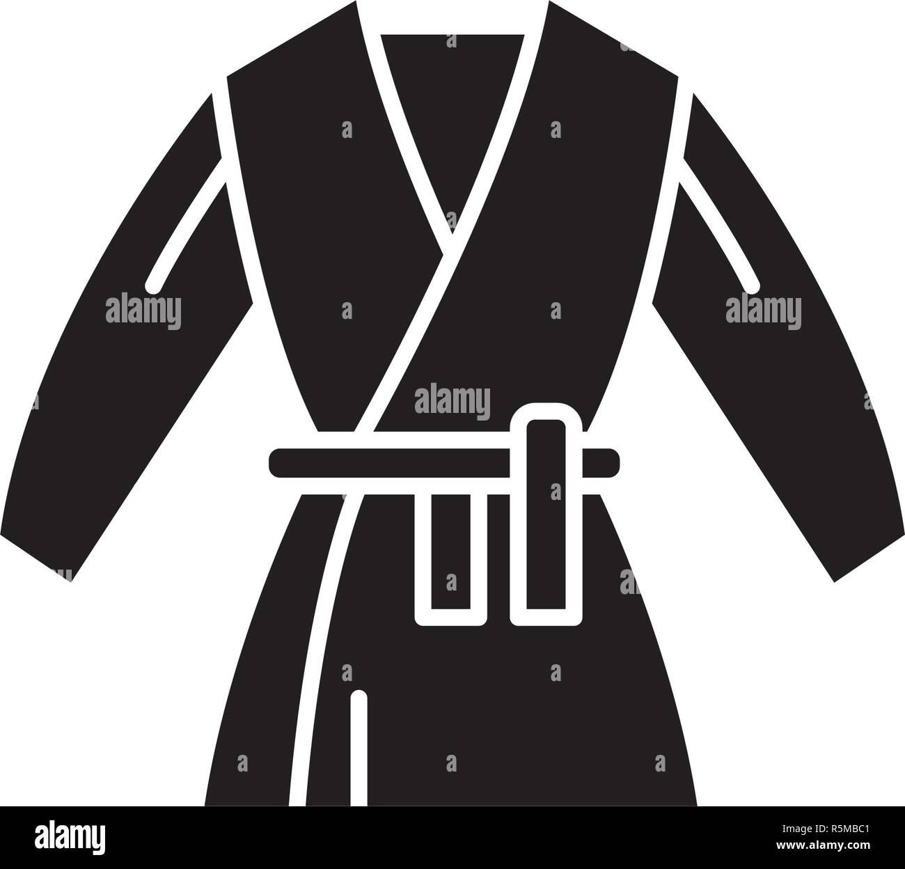 Kimono black icon, vector sign on isolated background. Kimono concept symbol, illustration  - Stock Vector