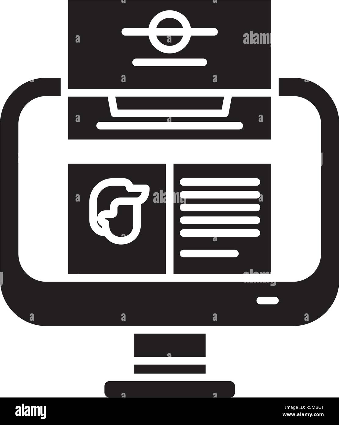 Unit analysis black icon, vector sign on isolated background. Unit analysis concept symbol, illustration  - Stock Vector