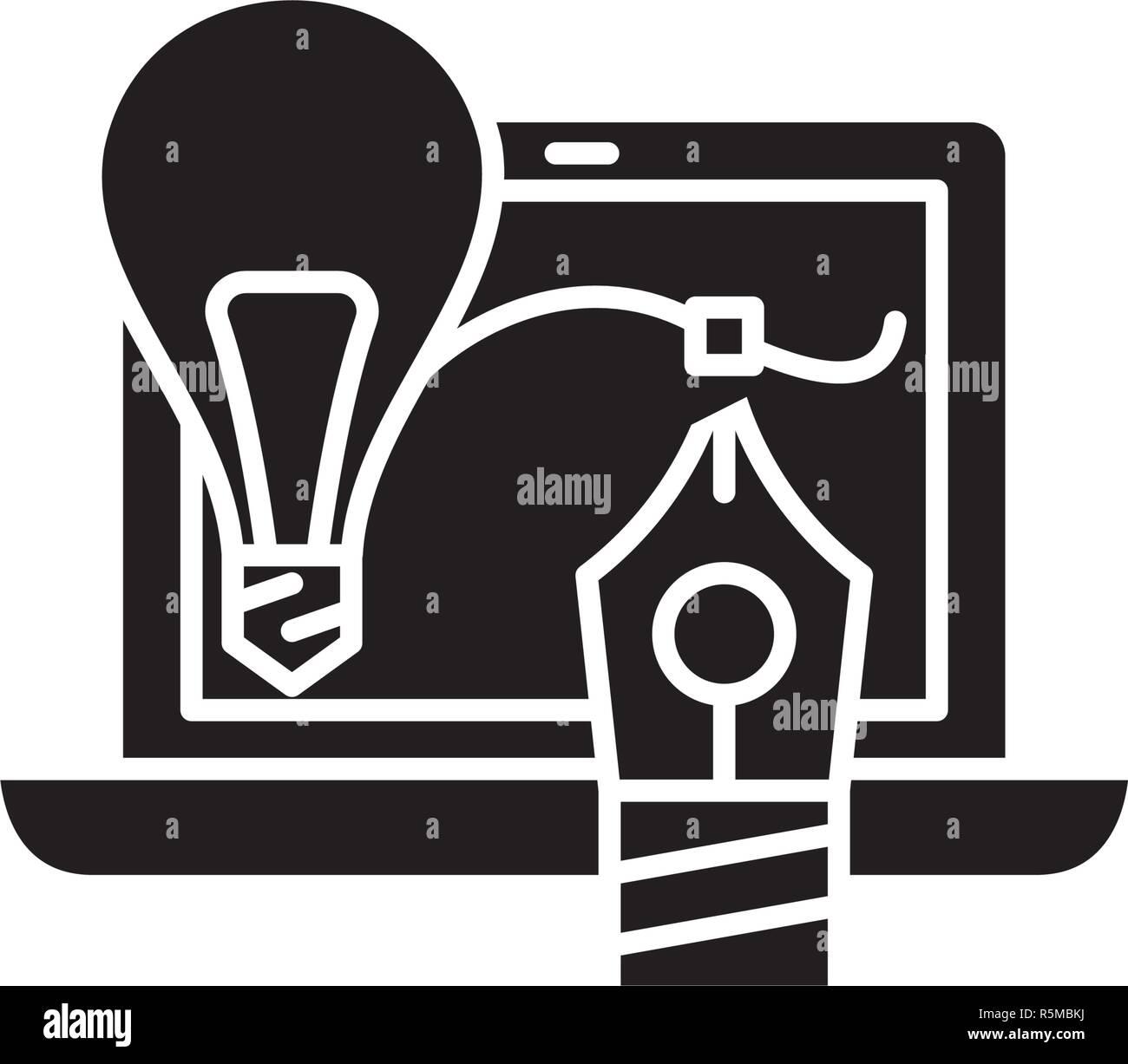 Creativity black icon, vector sign on isolated background. Creativity concept symbol, illustration  - Stock Image