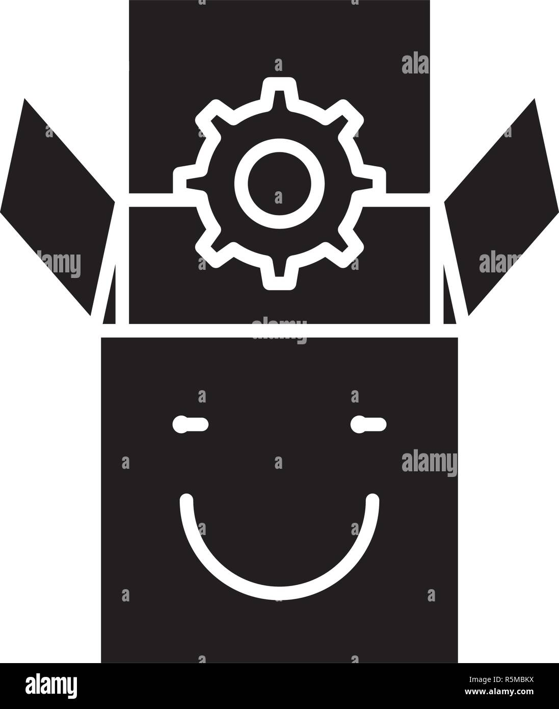 Product satisfaction black icon, vector sign on isolated background. Product satisfaction concept symbol, illustration  - Stock Vector