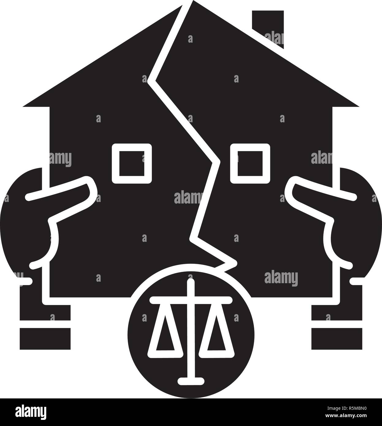 Real estate law black icon, vector sign on isolated background. Real estate law concept symbol, illustration  - Stock Image