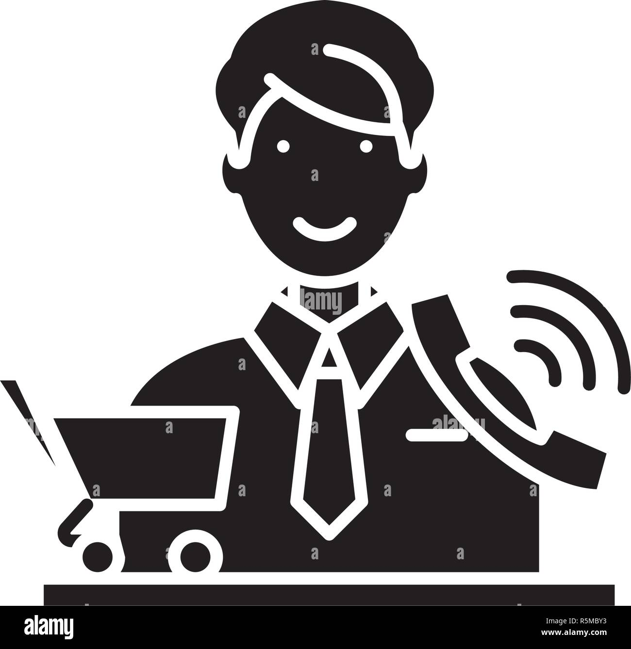 Telemarketing black icon, vector sign on isolated background. Telemarketing concept symbol, illustration  Stock Vector