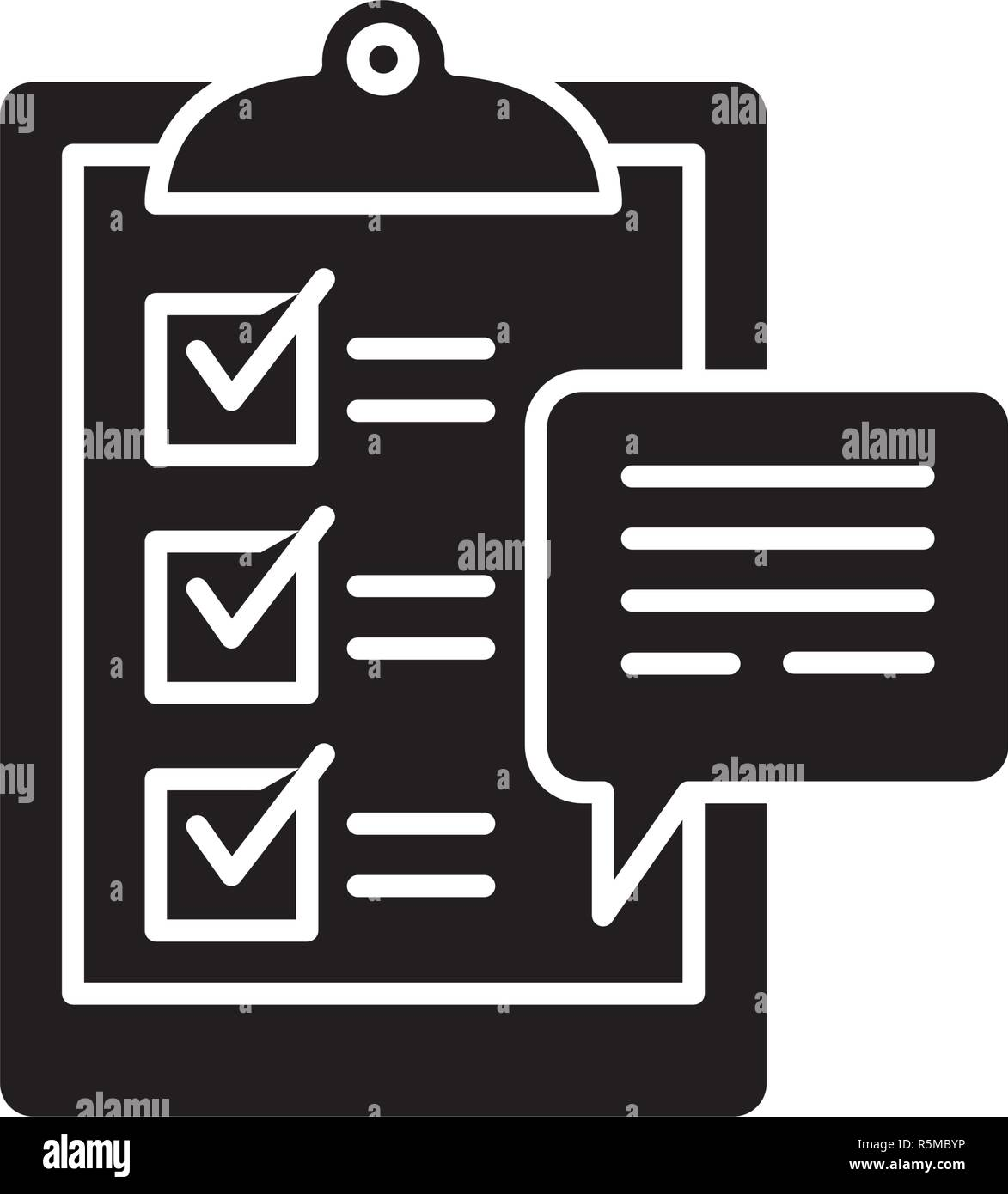 Customer surveys black icon, vector sign on isolated background. Customer surveys concept symbol, illustration  - Stock Image