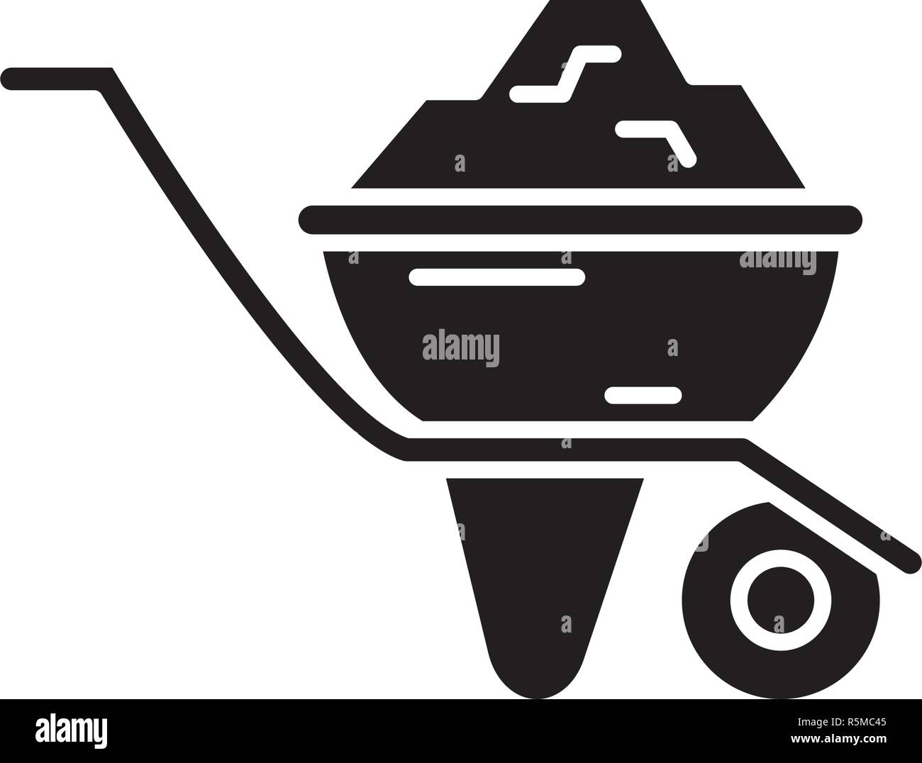 Construction car black icon, vector sign on isolated background. Construction car concept symbol, illustration  - Stock Image