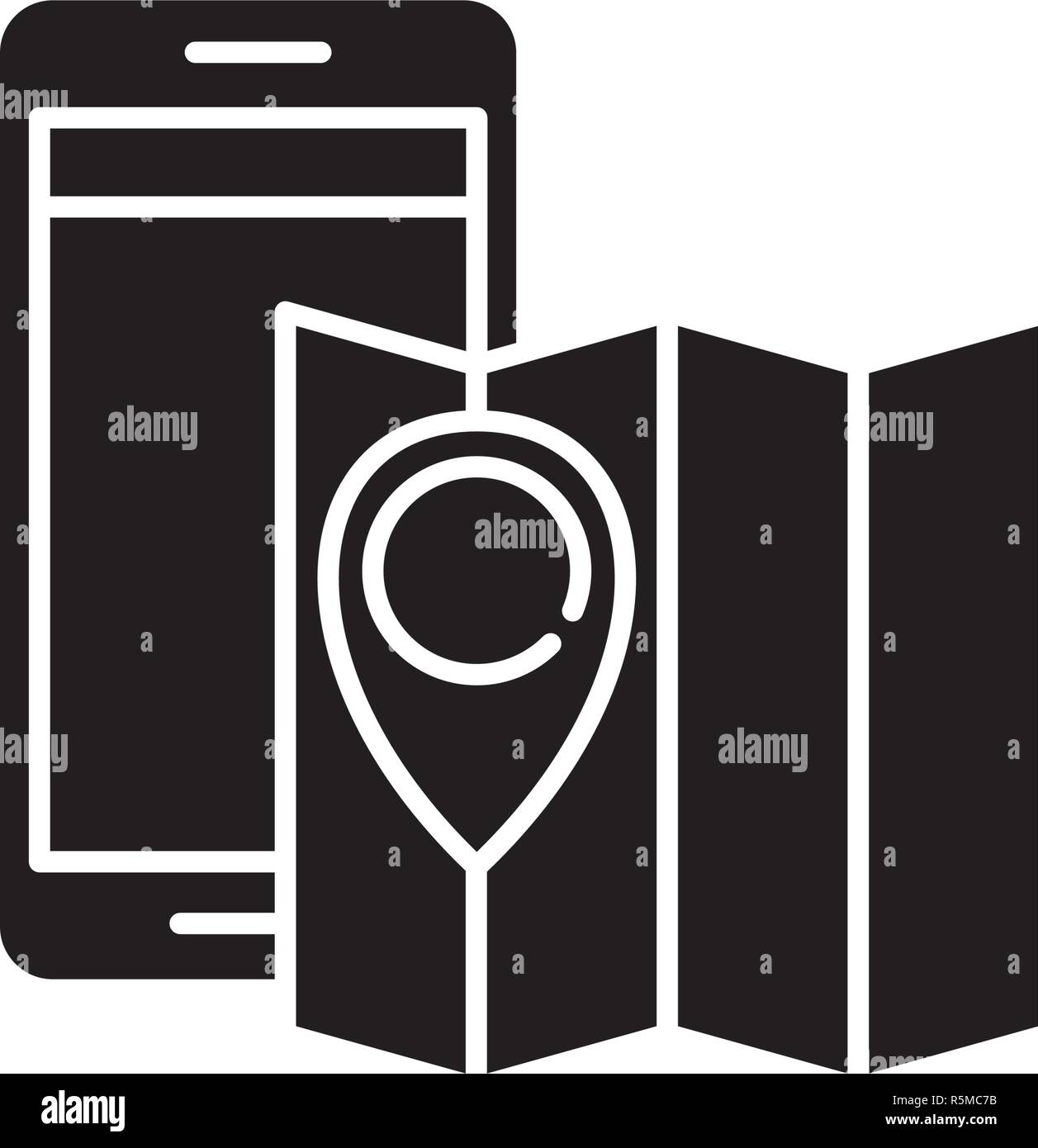 Location black icon, vector sign on isolated background. Location concept symbol, illustration  - Stock Vector