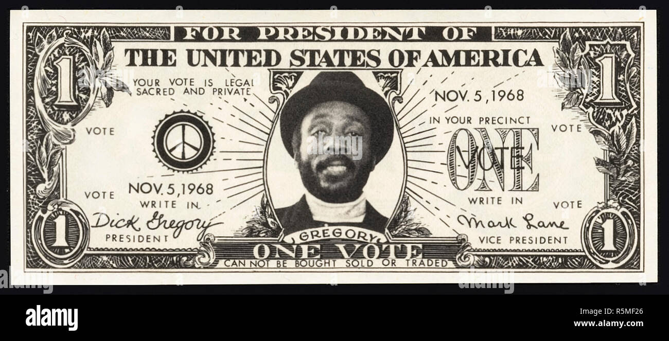 Dick Gregory (1932-2017) promotional dollar bill produced for his 1968 presidential campaign when he ran for President of the United States as a write-in candidate of the Freedom and Peace Party. See more information below. - Stock Image