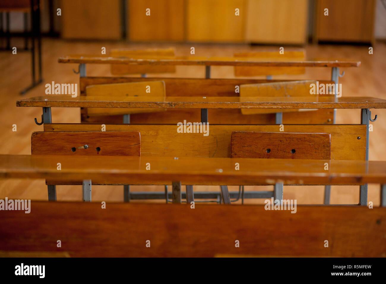 Old Vintage Wooden School Desks in Classroom Stock Photo ...