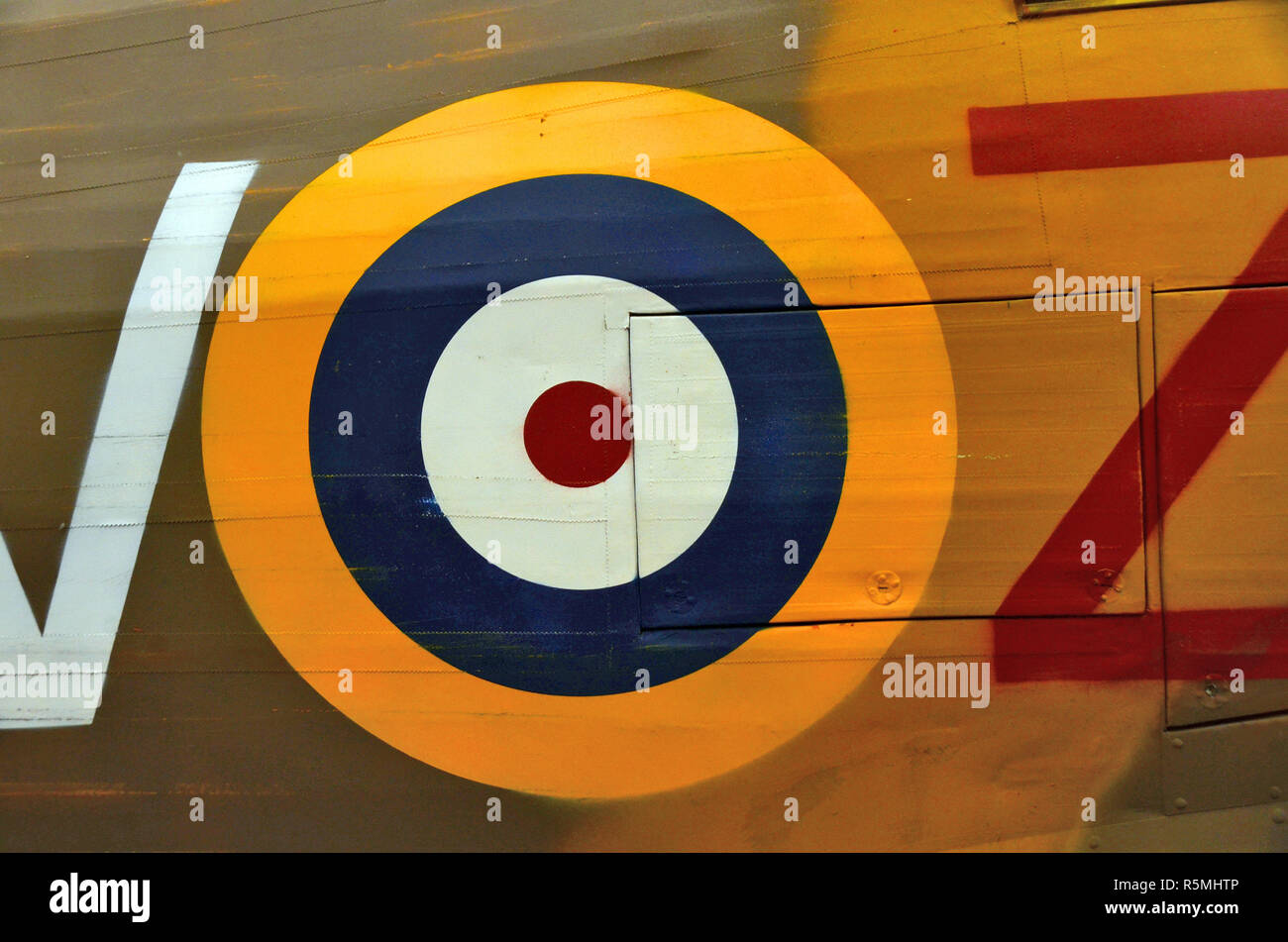 World War Two, RAF spitfire roundel Type A  on plane fuselage. - Stock Image