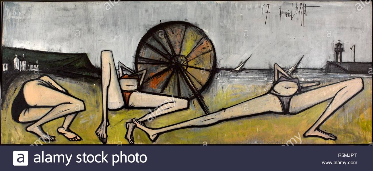 Les Plages, Le Parasol. Museum: MUSEE D'ART MODERNE DE LA VILLE DE PARIS. Author: BUFFET, BERNARD. Copyright: This artwork is not in public domain. It is your responsibility to obtain all necessary third party permissions from the copyright handler in your country prior to publication. - Stock Image