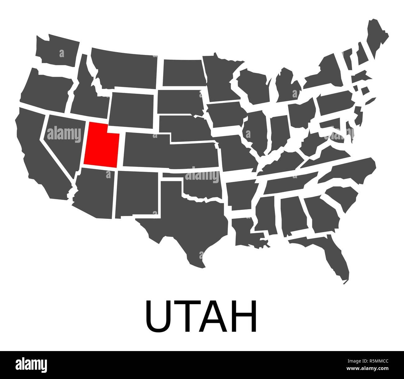 Utah In Usa Map.State Of Utah On Map Of Usa Stock Photo 227263132 Alamy