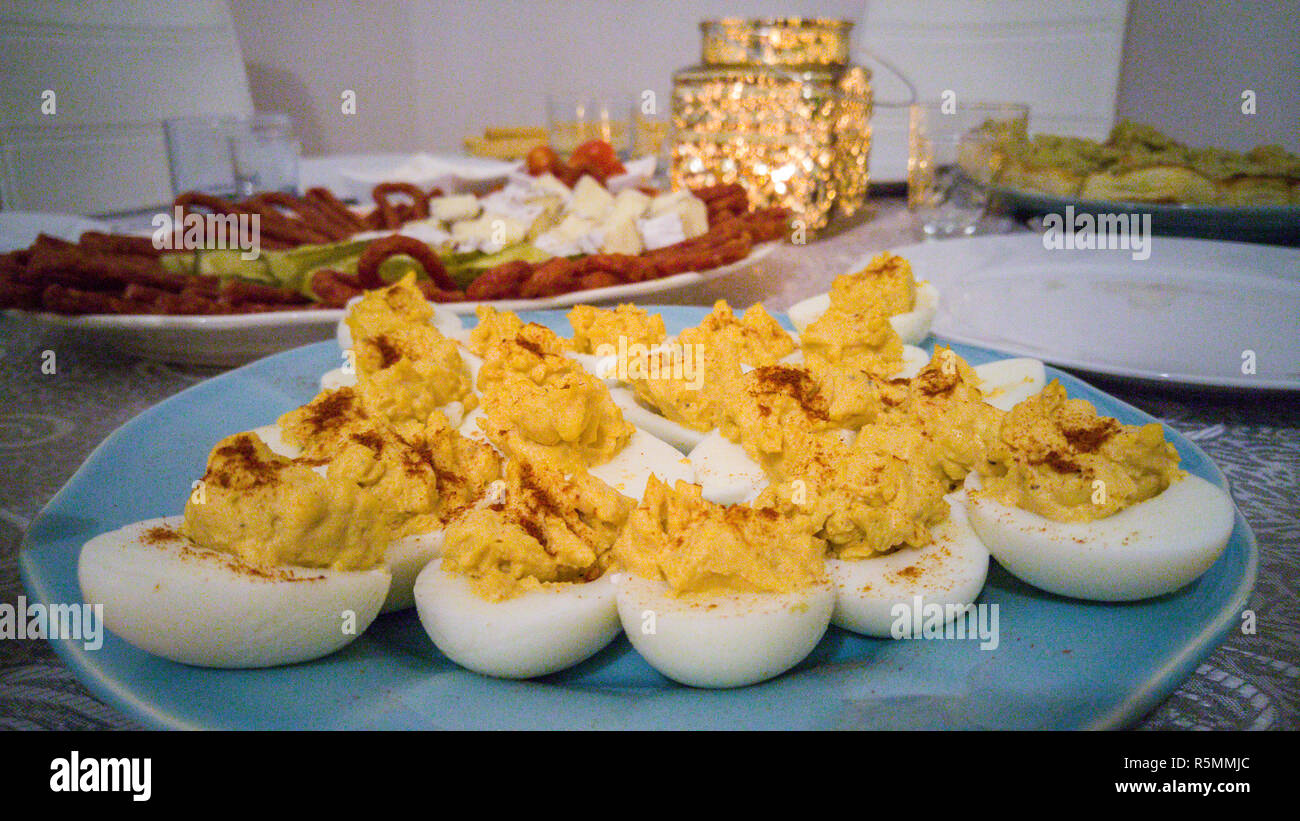 Deviled eggs with pepper made by a traditional recepie - Stock Image