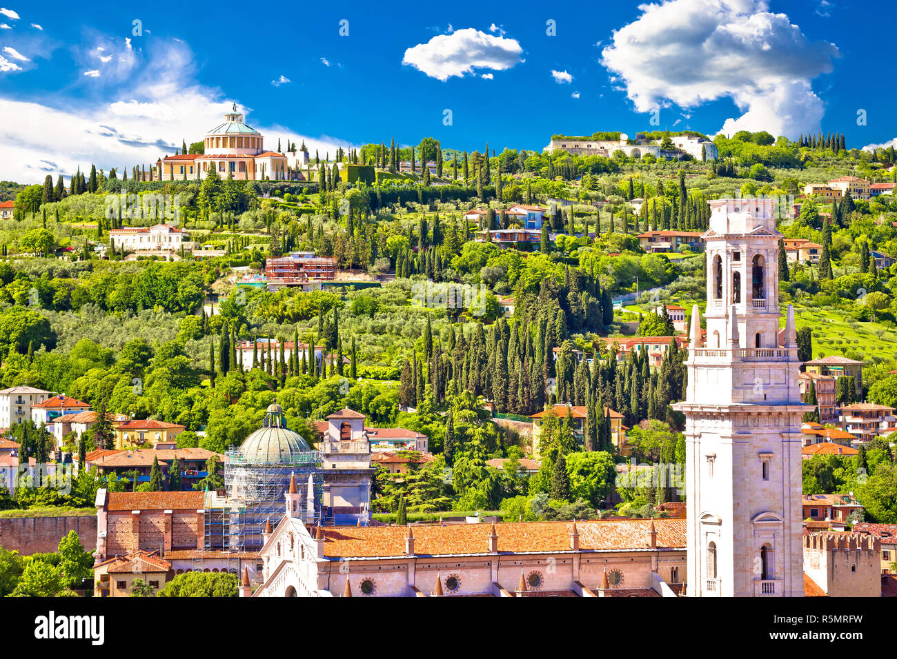 Verona rooftops and Madonna di Lourdes sanctuary view Stock Photo