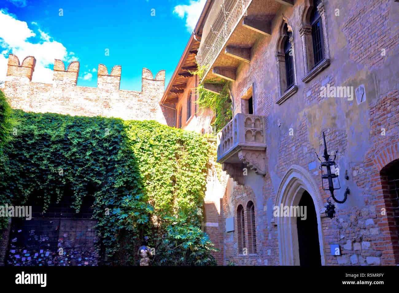 Patio and balcony of Romeo and Juliet house in Verona Stock Photo