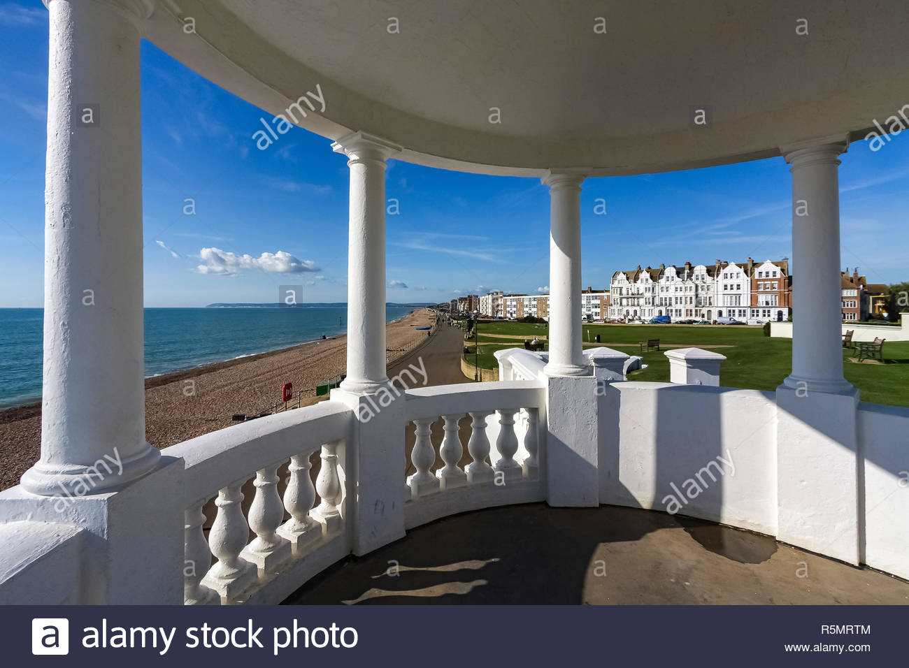 View from a Colonnade in the Grounds of the De la Warr Pavilion - Stock Image