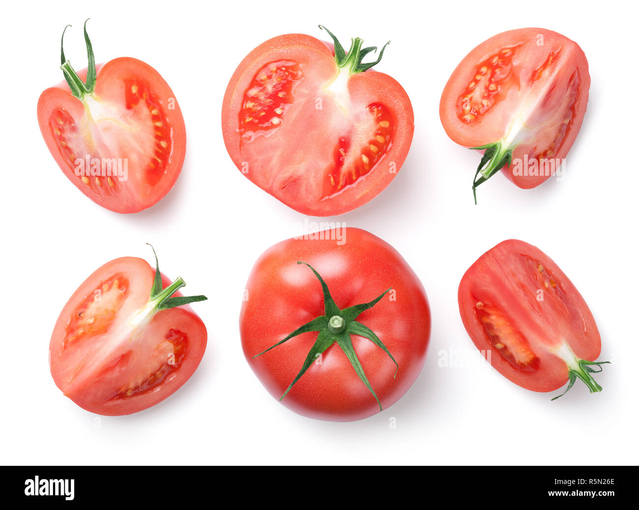 Pink Tomatoes Isolated on White Background - Stock Image