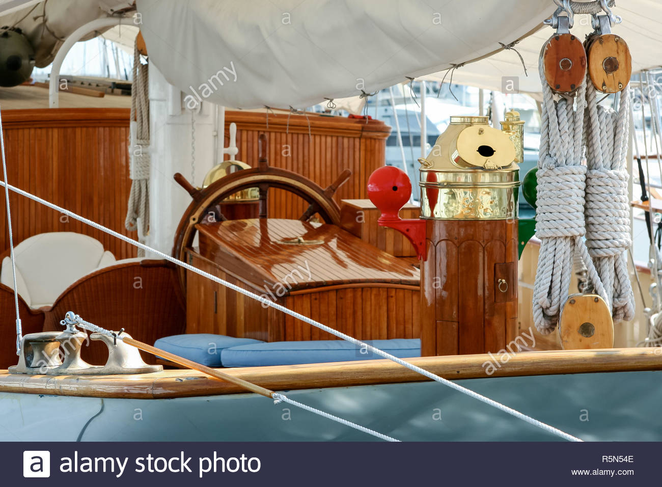 Close-up of a Yacht Moored at Monte Carlo - Stock Image