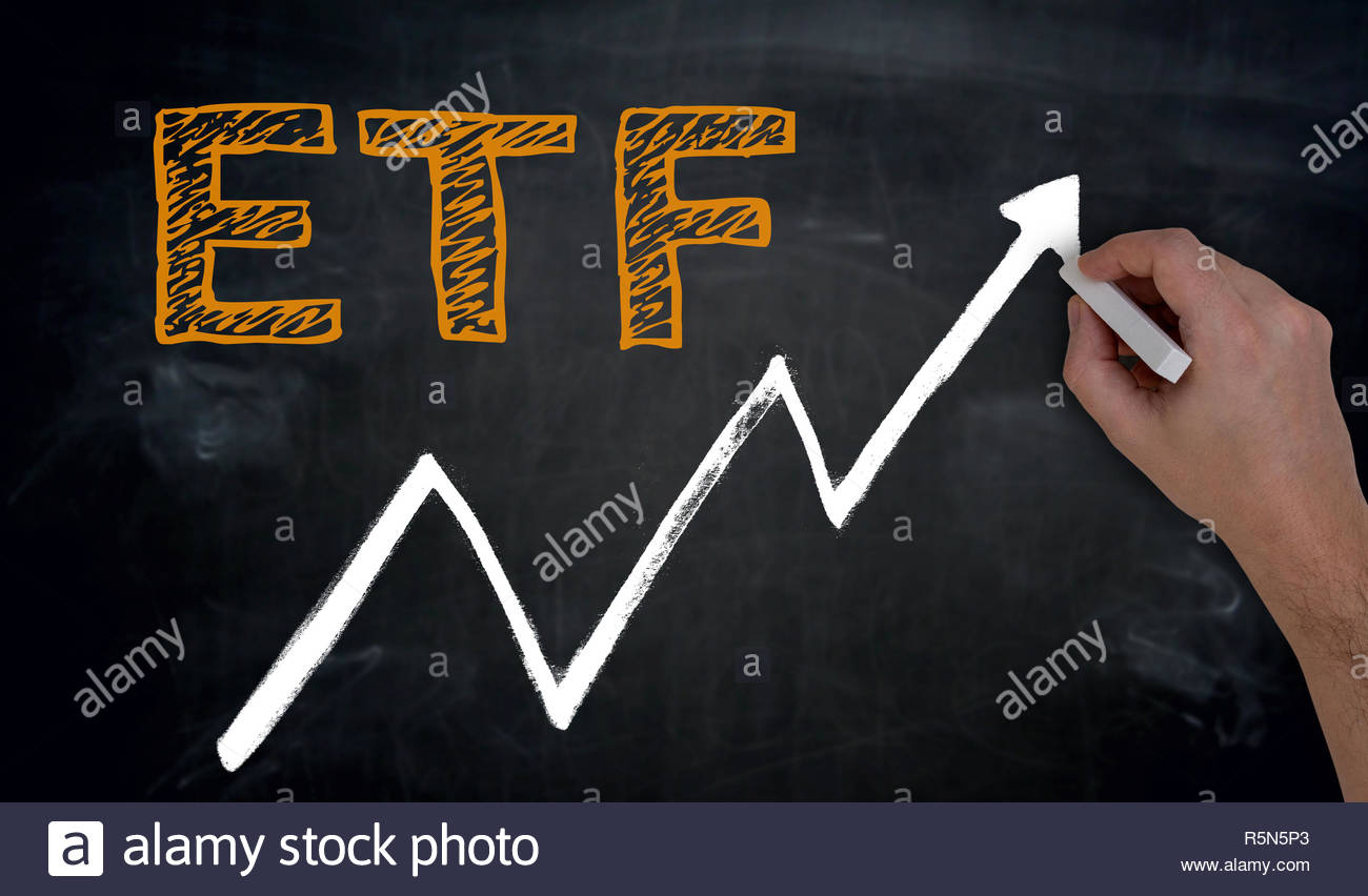 etf and graph is written by hand on blackboard Stock Photo