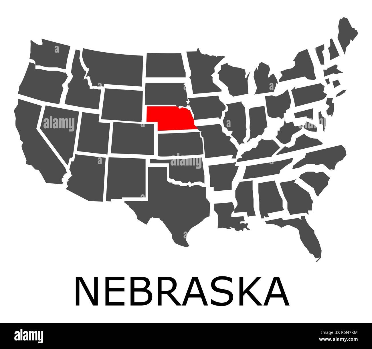 State Of Nebraska On Map Of Usa Stock Photo 227275096 Alamy