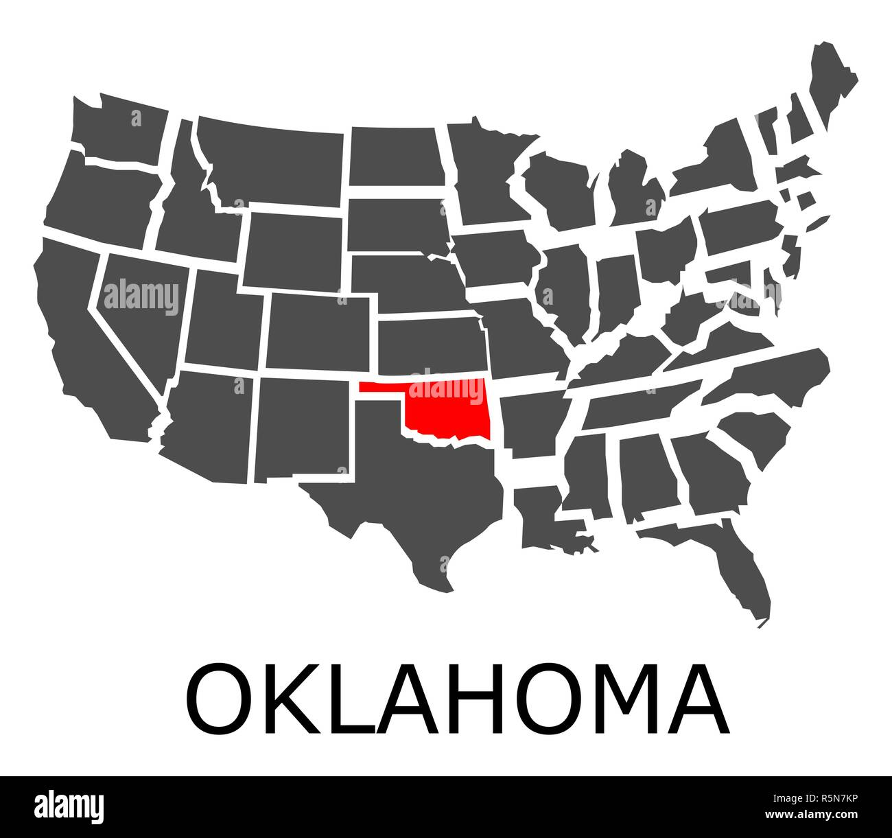 Oklahoma Map In Usa.State Of Oklahoma On Map Of Usa Stock Photo 227275098 Alamy