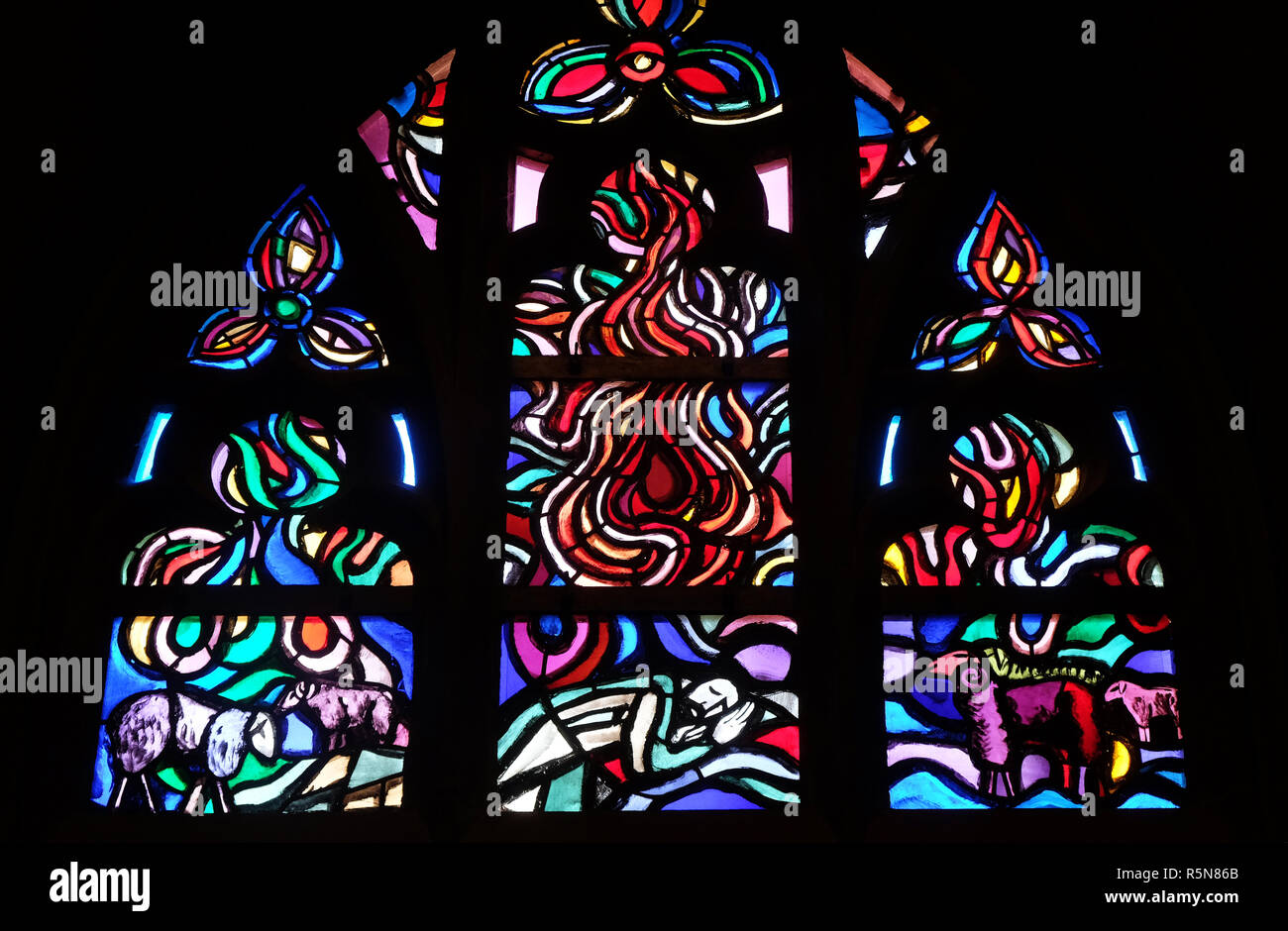 Stained glass window in Cathedral of St. Florin in Vaduz, Liechtenstein Stock Photo