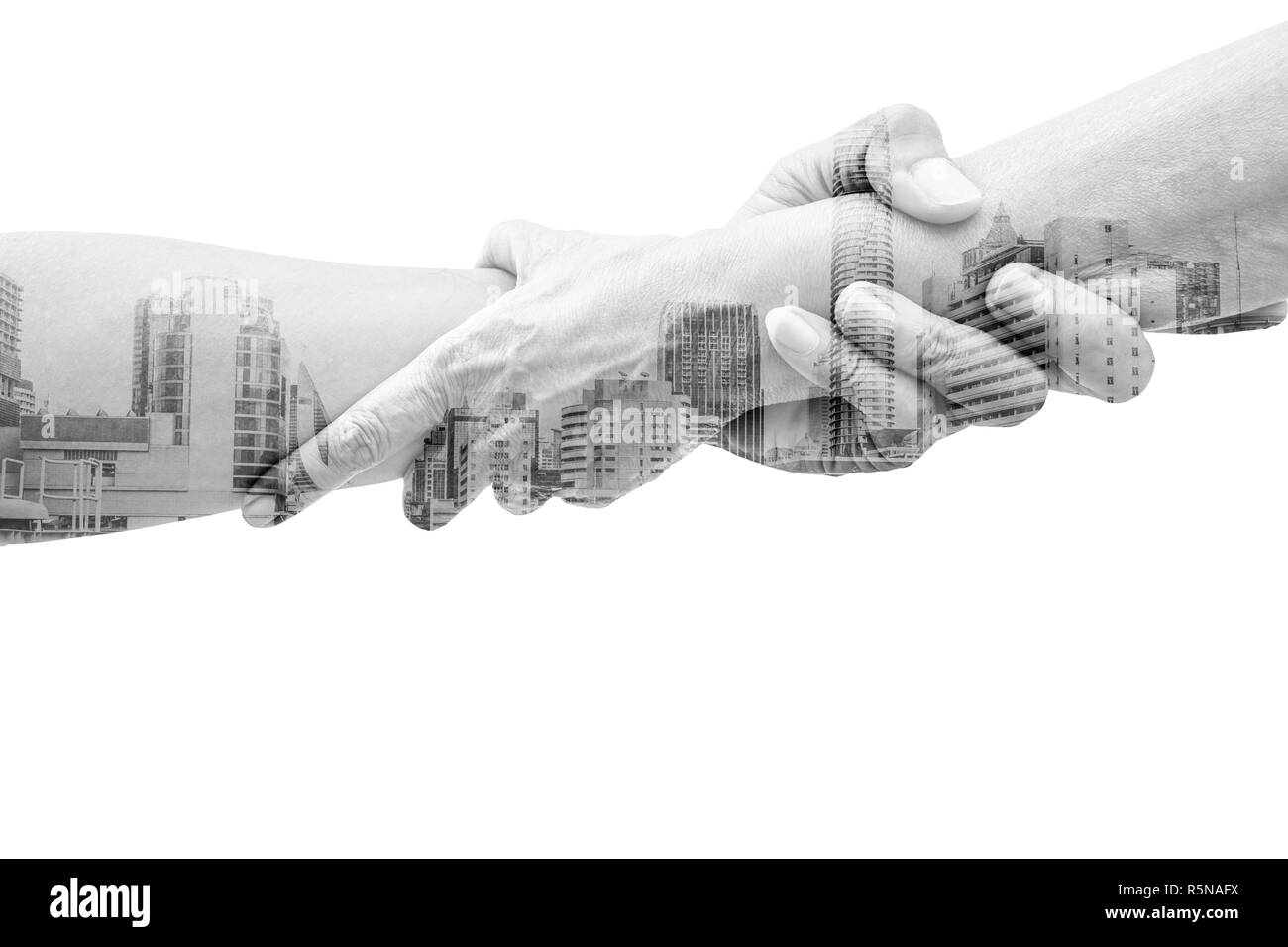 Double exposure help hands holding together and urban city representing friendship, partnership, help and hope, donation, assistance in urban life. - Stock Image