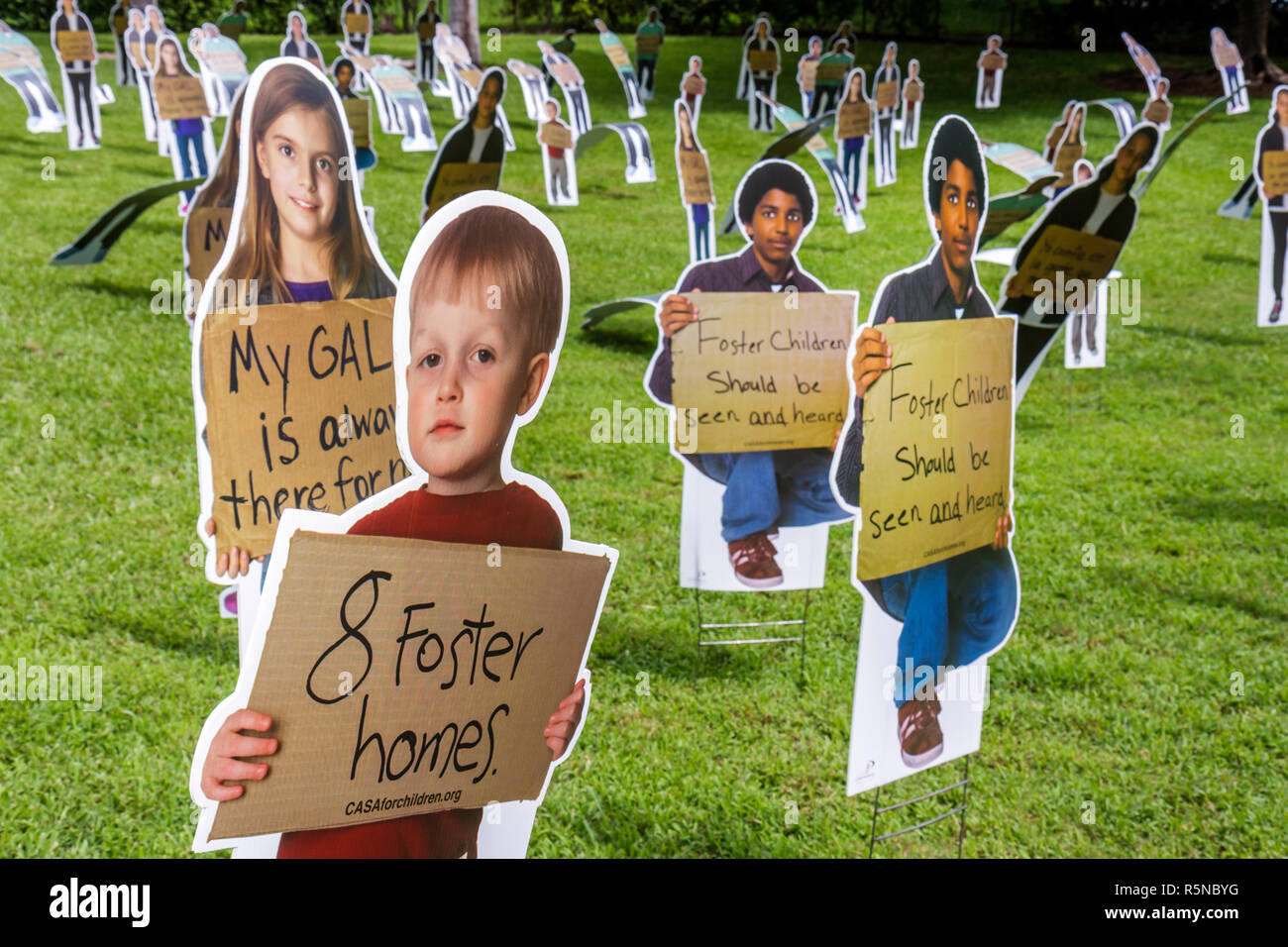 Miami Florida Bayfront Park National CASA Forgotten Children Campaign foster care public event raise awareness photo life-sized - Stock Image