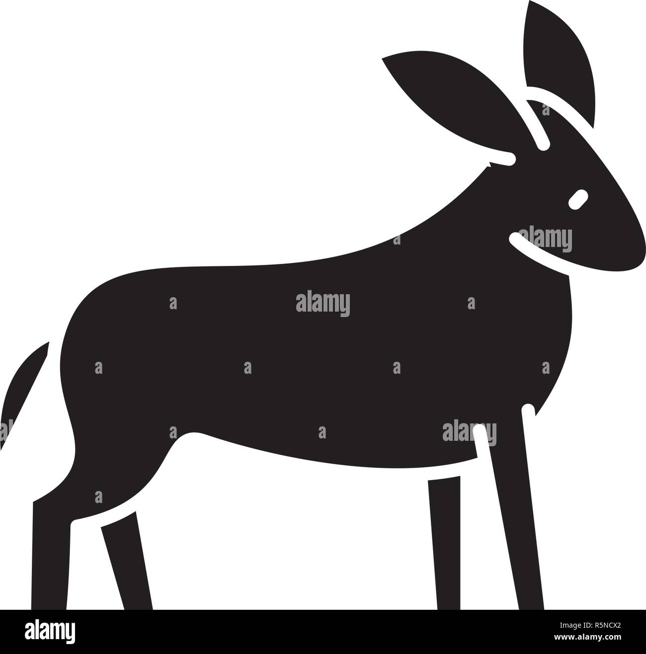 Donkey black icon, vector sign on isolated background. Donkey concept symbol, illustration  - Stock Image