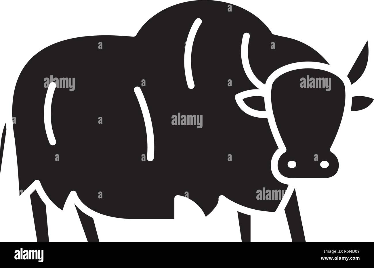 Yak black icon, vector sign on isolated background. Yak concept symbol, illustration  - Stock Vector