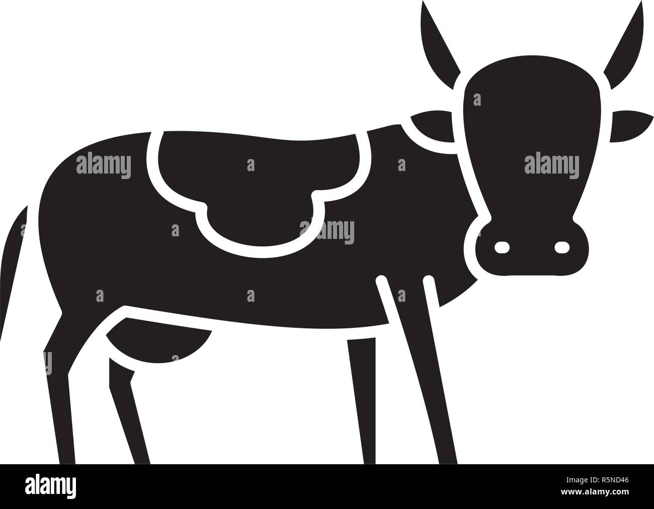 Bull black icon, vector sign on isolated background. Bull concept symbol, illustration  - Stock Vector
