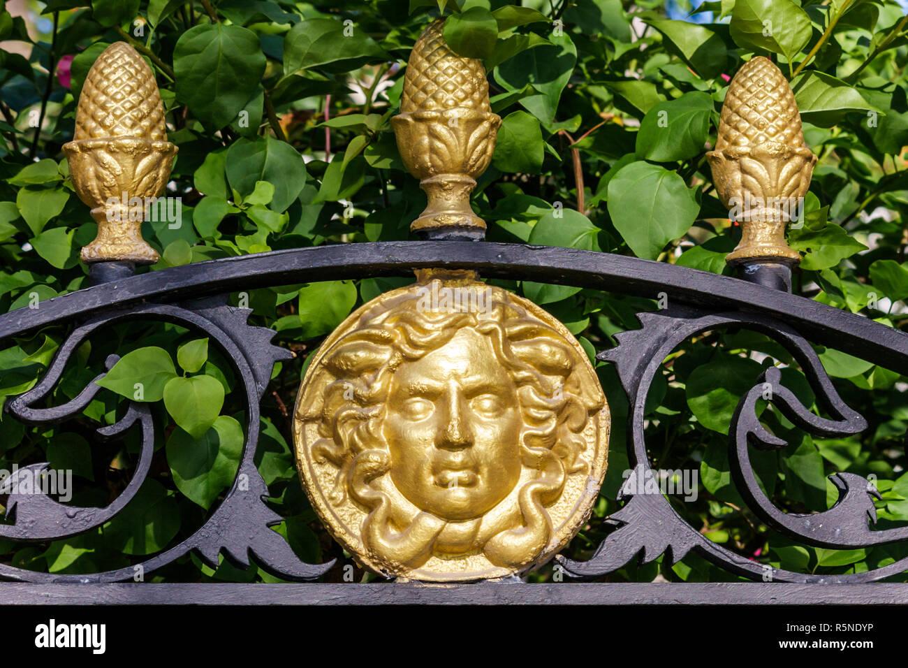 Miami Beach Florida Ocean Drive Casa Casuarina Gianni Versace House mansion gate logo garden fence wrought iron gilded symbol - Stock Image