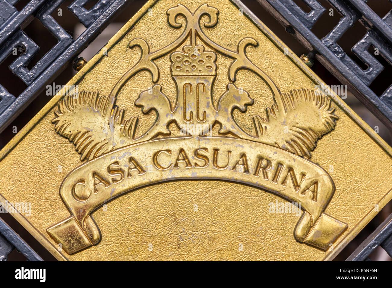 Miami Beach Florida Ocean Drive metal gate Casa Casuarina Gianni Versace mansion entrance logo - Stock Image
