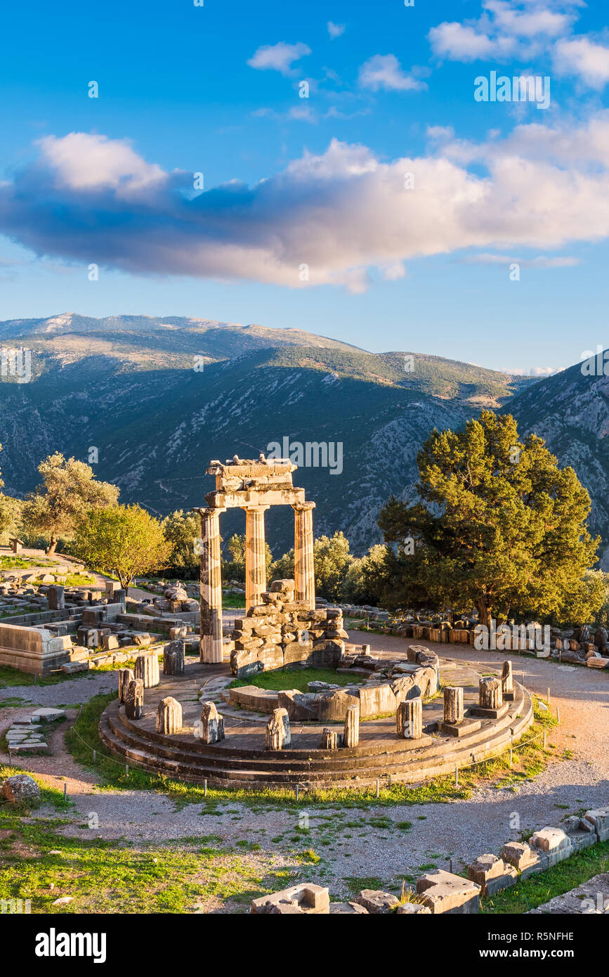 Ruins of the Temple of Athena Pronaia in ancient Delphi, Greece Stock Photo