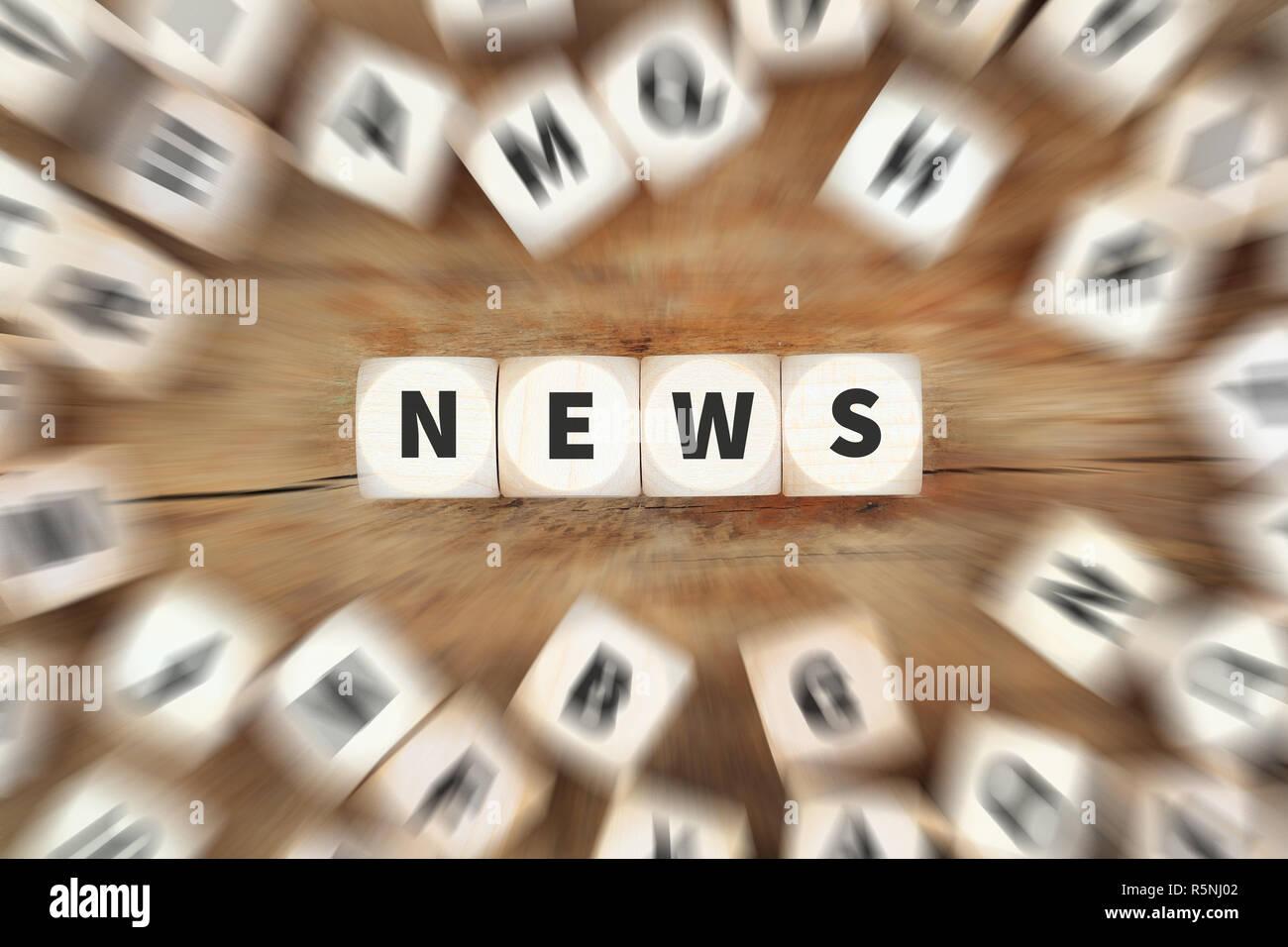 News Online Zeitung Nachrichten Würfel Business Konzept Stock Photo