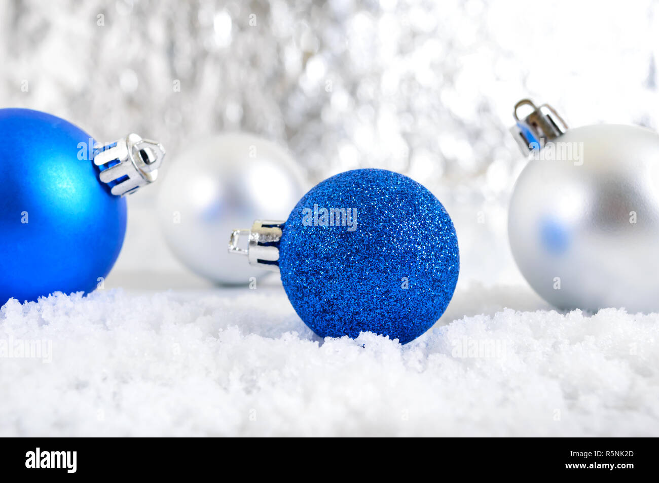 New Year banner with blue, silver and white Christmas ...
