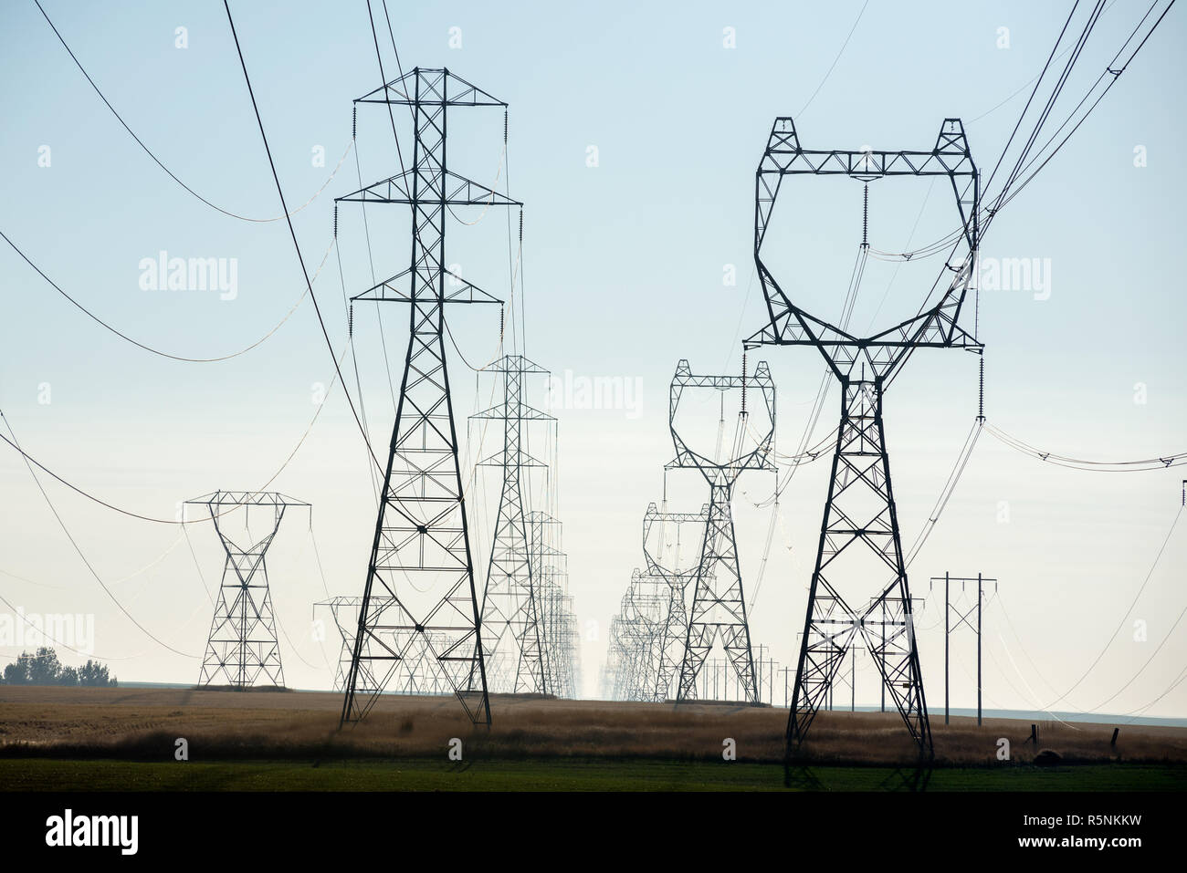 High tension power lines in Eastern Washington. - Stock Image