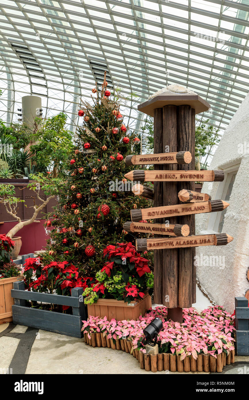 Christmas Display In The Flower Dome At Gardens By The Bay Singapore Stock Photo Alamy