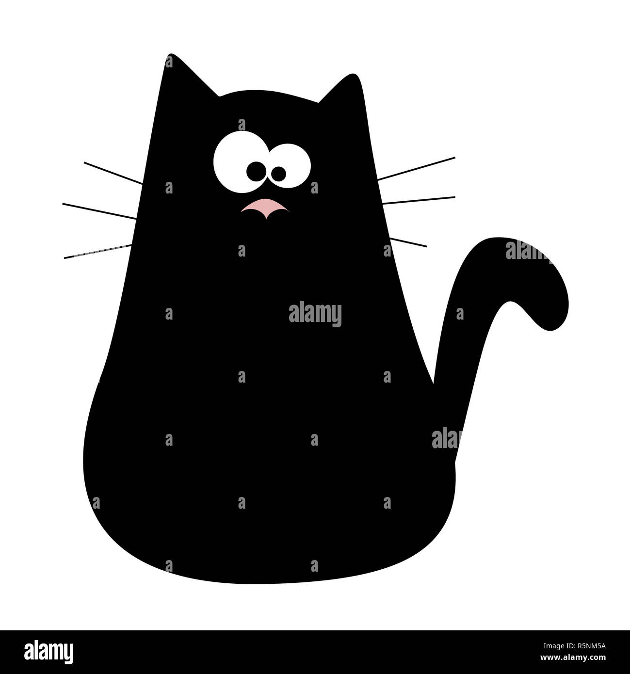Cute cartoon black cat logo. Kids illustration with domestic animal. Lovely pet - Stock Image