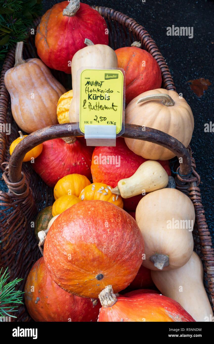 Detail of organic vegetables at weekend farmers market in Prenzlauer Berg in Berlin,, Germany - Stock Image