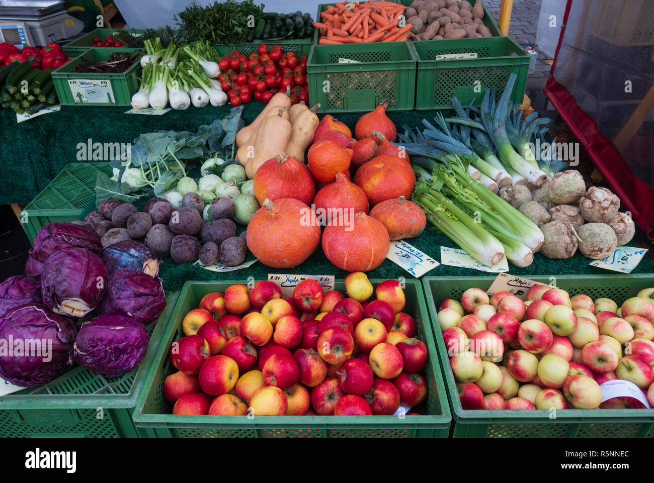 Detail of organic fruit and vegetables at weekend farmers market in Prenzlauer Berg in Berlin,, Germany Stock Photo