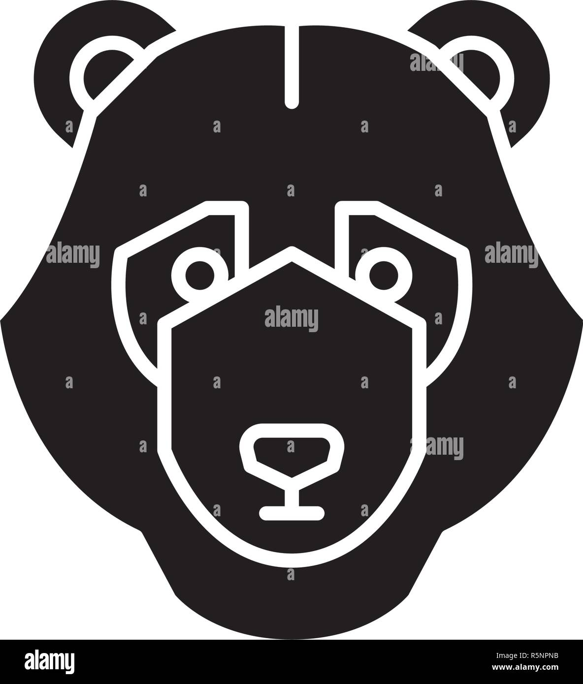 Bear trend black icon, vector sign on isolated background. Bear trend concept symbol, illustration  - Stock Vector