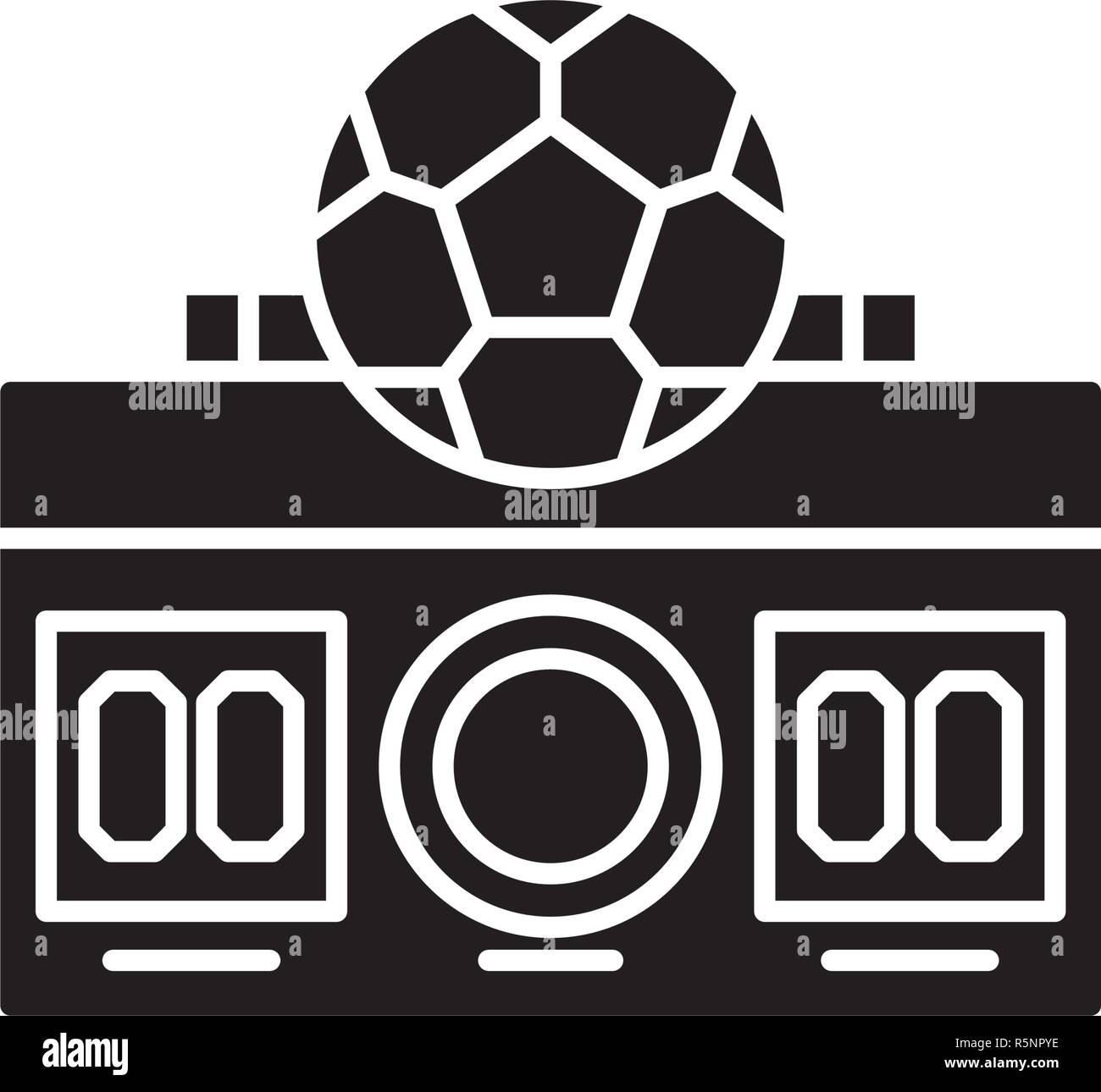 Football score black icon, vector sign on isolated background. Football score concept symbol, illustration  - Stock Vector