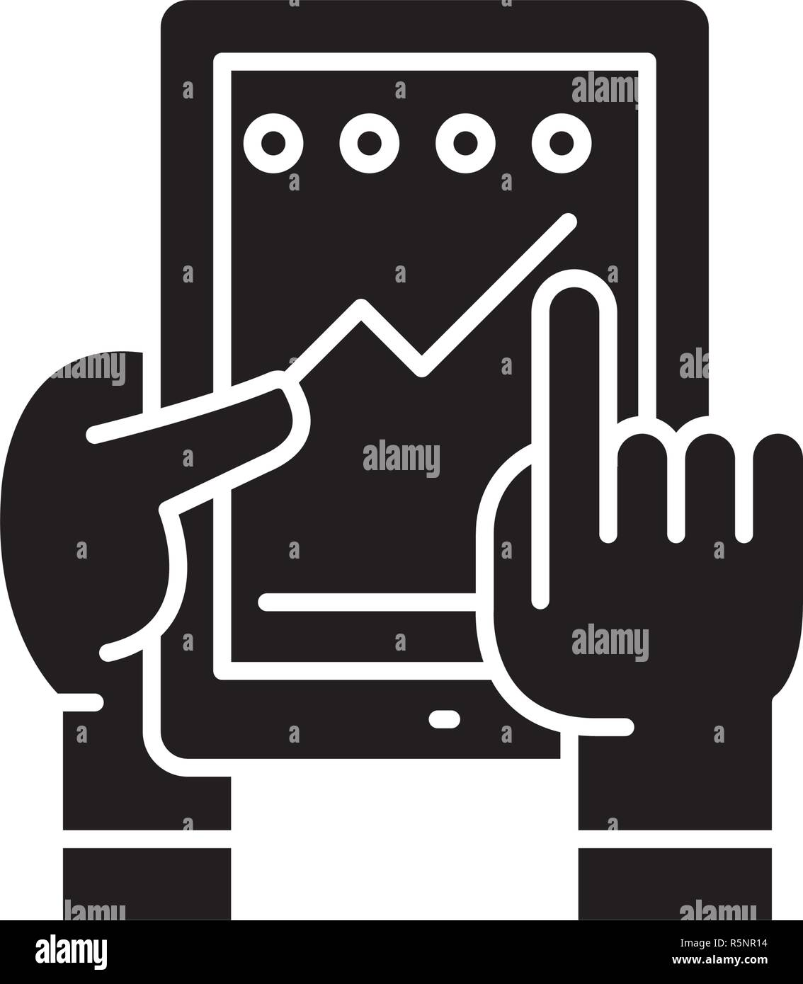 Progress in the application black icon, vector sign on isolated background. Progress in the application concept symbol, illustration  - Stock Vector