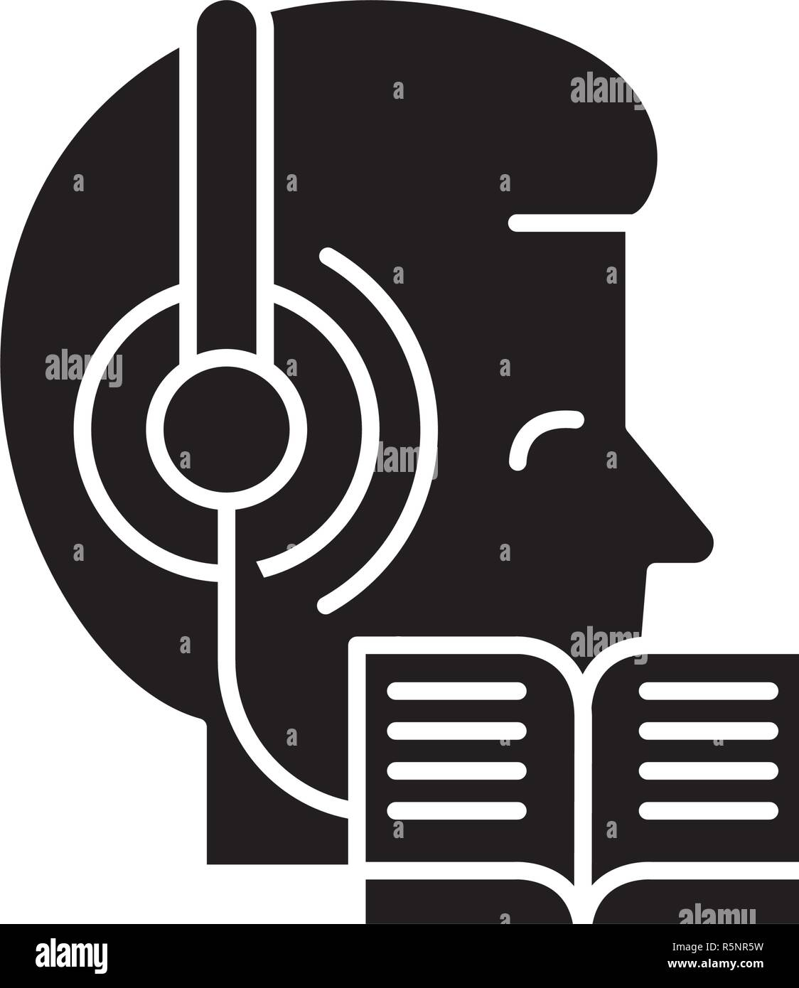 Listening to music and reading black icon, vector sign on isolated background. Listening to music and reading concept symbol, illustration  - Stock Vector