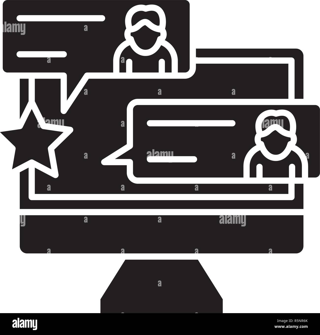 Reviews black icon, vector sign on isolated background. Reviews concept symbol, illustration  - Stock Image