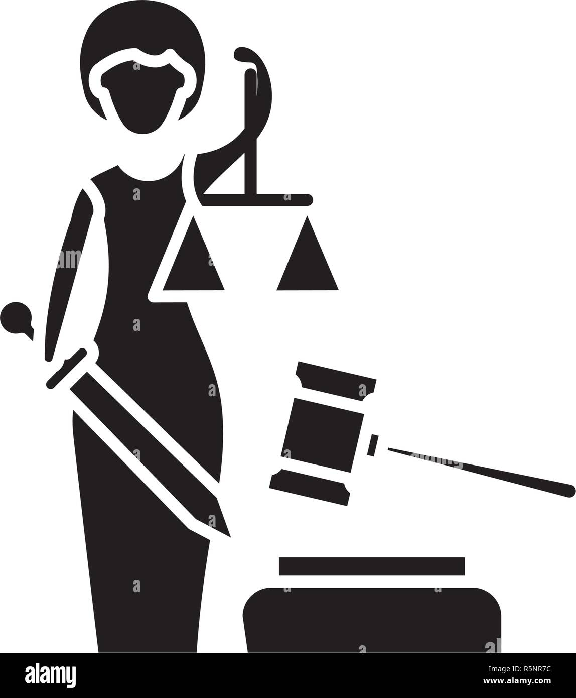 Justice black icon, vector sign on isolated background. Justice concept symbol, illustration  - Stock Image
