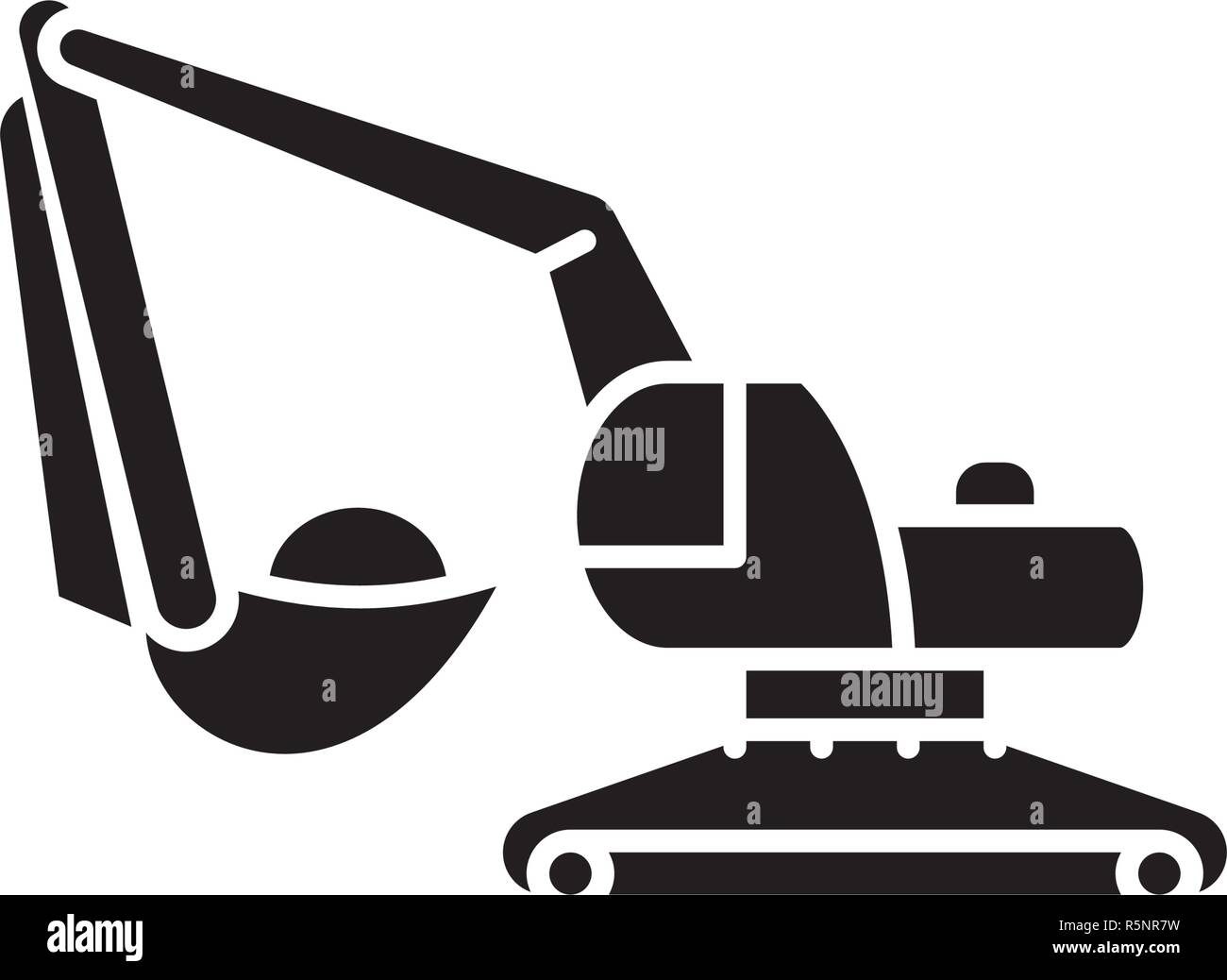 Excavator works black icon, vector sign on isolated background. Excavator works concept symbol, illustration  - Stock Vector