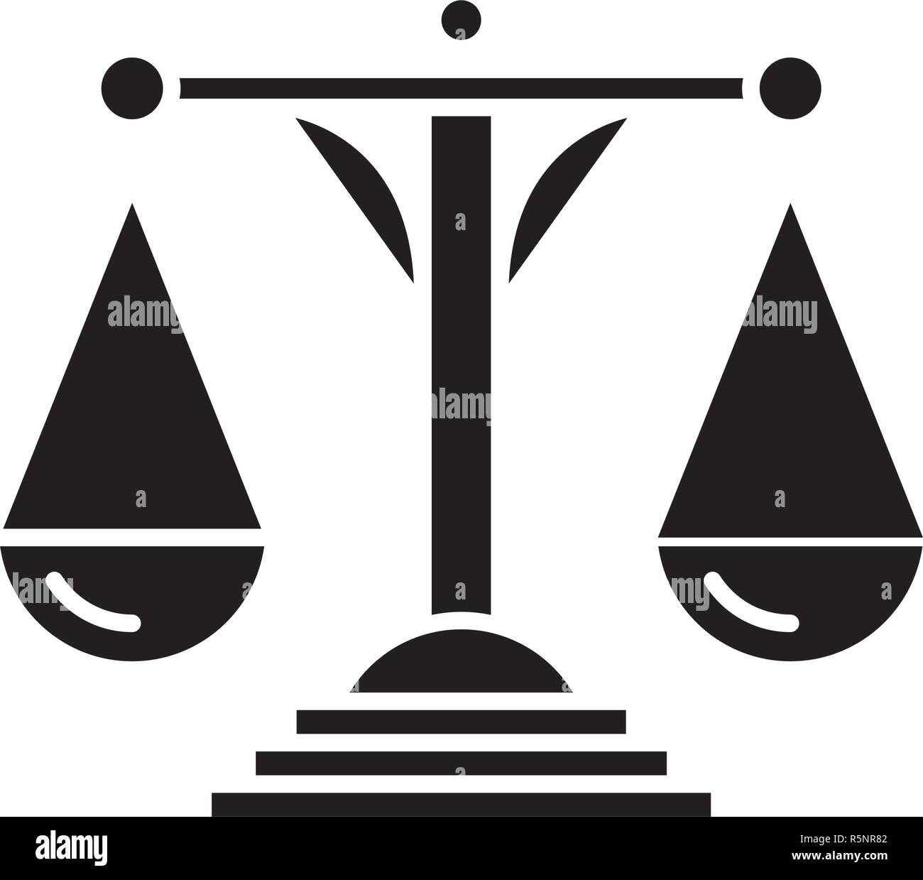 Scales of justice black icon, vector sign on isolated background. Scales of justice concept symbol, illustration  - Stock Image