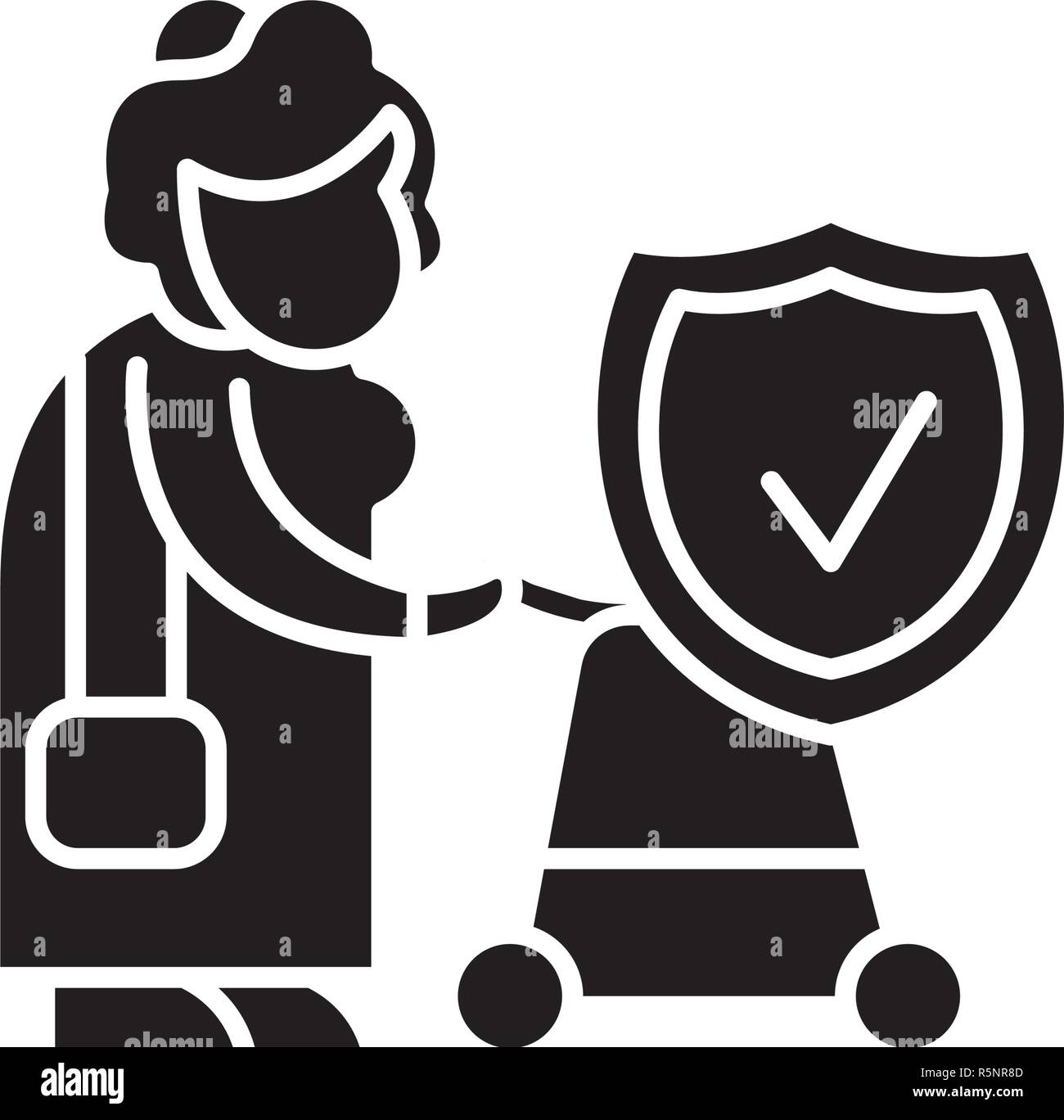 Pension fund black icon, vector sign on isolated background. Pension fund concept symbol, illustration  - Stock Image