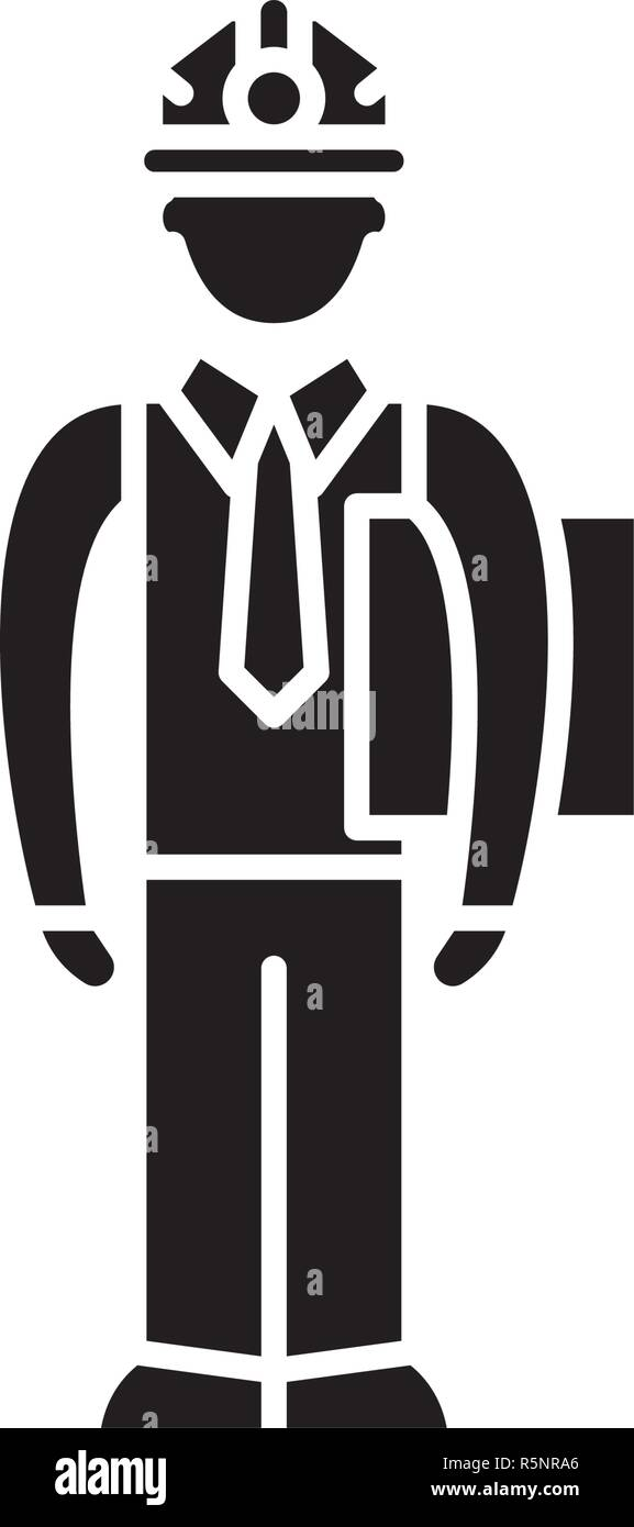 Production manager black icon, vector sign on isolated background. Production manager concept symbol, illustration  - Stock Vector