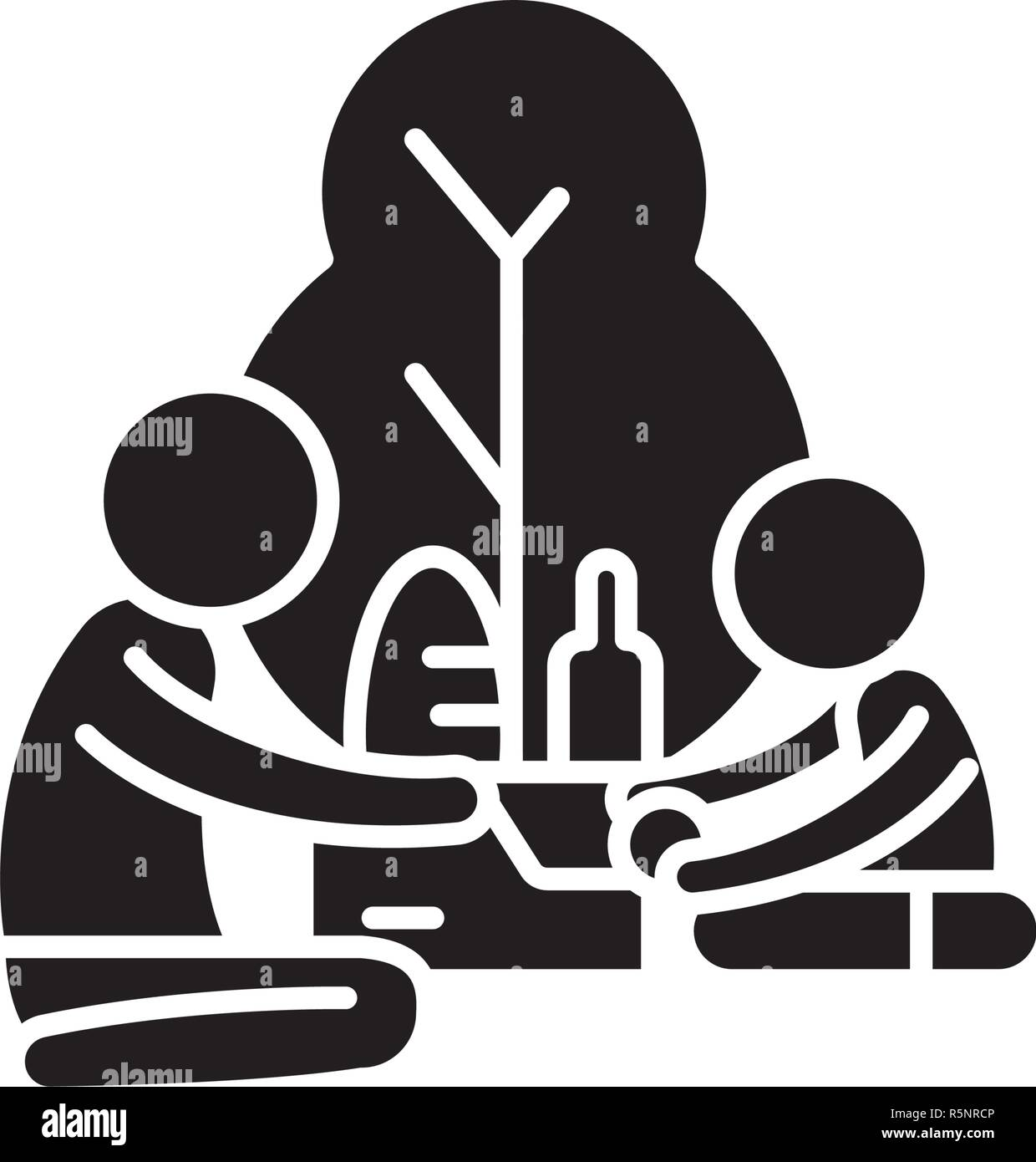 Picnic in the park black icon, vector sign on isolated background. Picnic in the park concept symbol, illustration  - Stock Vector